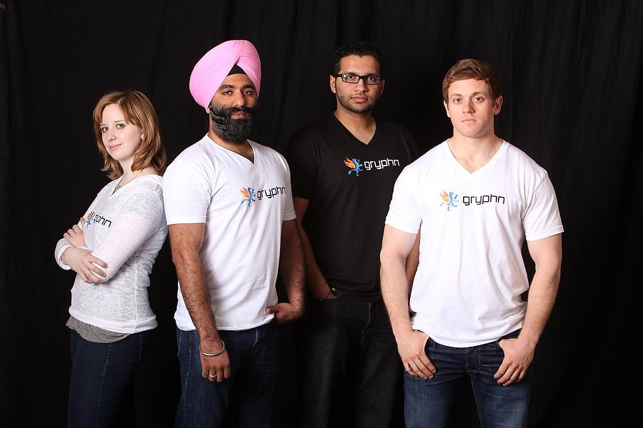 Team Gryphn [Photo by: Douglas Sonders Photography — From left to right: Chrissy Osipchak, Navroop Mitter, Bobby Saini and Aaron Huttner]