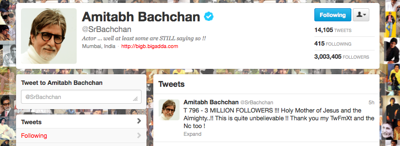 The Big B Reaches 3 Million Followers on Twitter