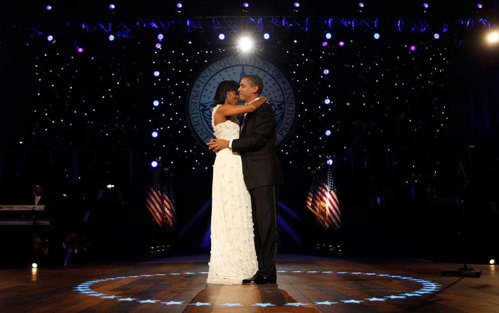 President Barack Obama & First Lady Michelle Obama During Inauguration Ball