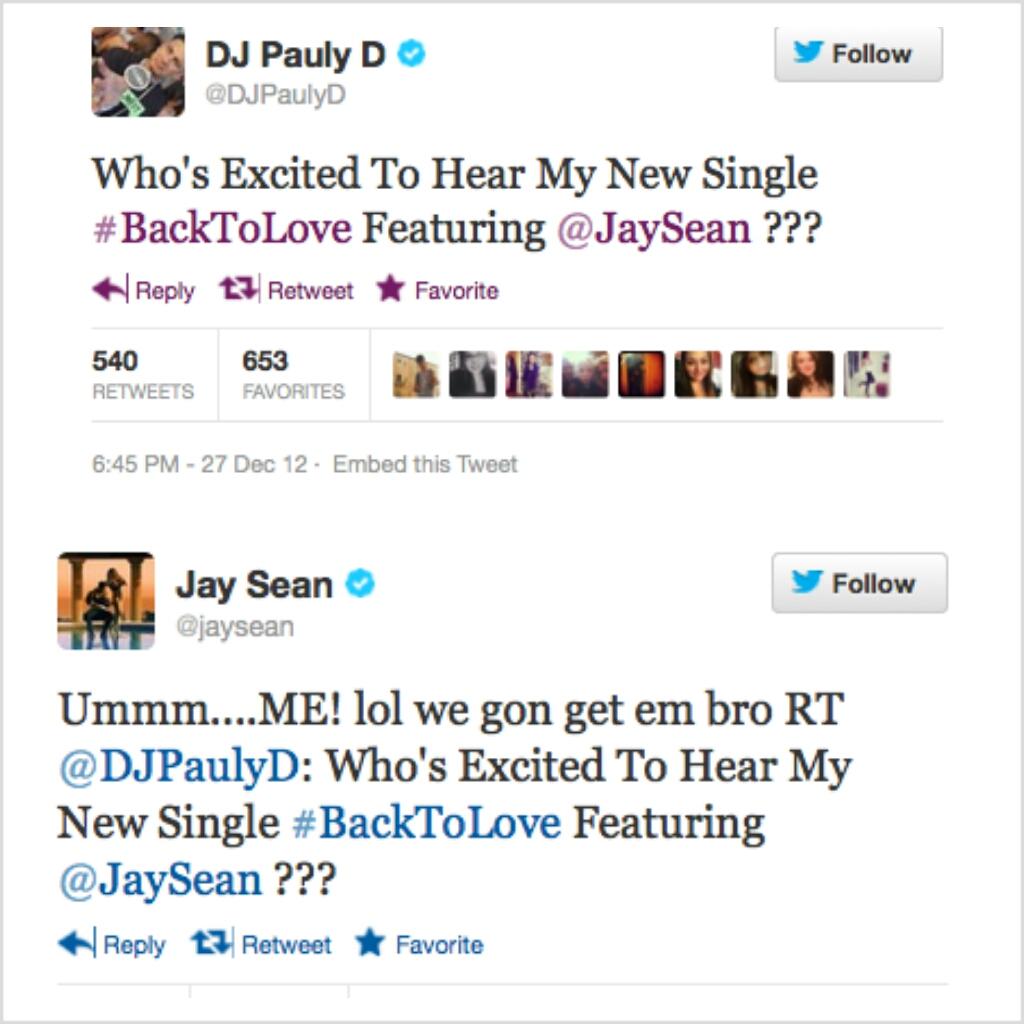 Pauly D & Jay Sean Tweets
