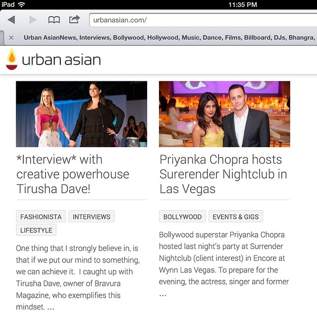 Looks who's featured on the homepage for @urbanasian...our #EditorInChief, @tirushad and oh...oh... @priyankachopra :)) check out the feature by Roopa here: http://urbanasian.com/lifestyle/fashion/2014/05/interview-with-creative-powerhouse-tirusha-dave/